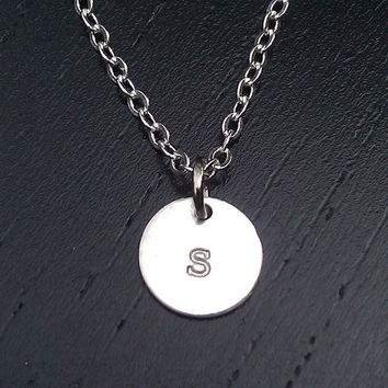 Tiny Monogram Necklace - Sterling Silver Initial Disc Charm Necklace - Small Initial Letter Charm - Bridesmaids Gifts - Daily Jewelry -
