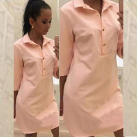 Spring Summer Women Shirt Dress Casual Vestidos Sexy Lapel Long Sleeve Split Party Dresses Loose Long Tops Blouse Plus Size