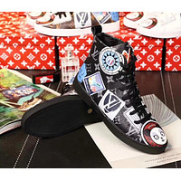 LV Louis Vuitton new tide brand graffiti printing breathable women's high-top sneakers black