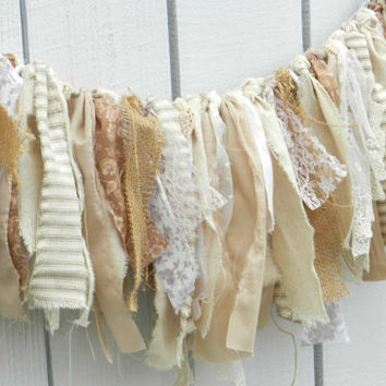 shabby wedding banner romantic farm wedding baby photo prop nursery decor burlap lace fabric party decor blush cream country cottage rustic