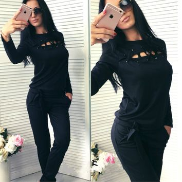 Women's Fashion Long Sleeve Hoodies Casual Bottom & Top [28275703834]