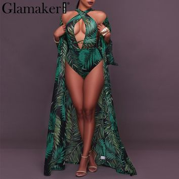 Glamaker Boho print two-piece suits bodysuit Women sexy lace up halter beach bodysuit Sleeveless chiffon kimono outwear bodysuit
