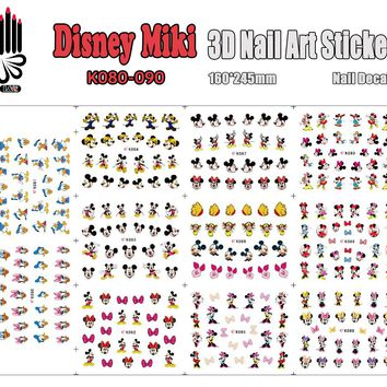 3D Beauty Nail Sticker K080-090 Cartoon Mickey Bear Duck Mouse 3D Nail Art Sticker Decal For Nail Large Piece(11 DESIGNS IN 1)
