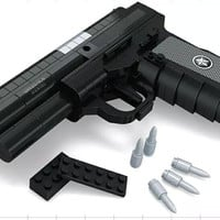QSZ92 Semiautomatic Pistol Arms Model 1:1 3D 327pcs Black Model Brick Gun Building Block Set Toy Compatible With Lego
