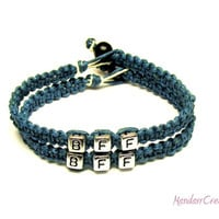 Best Friends Bracelet Set, BFF, Dark Teal Macrame Hemp, Friendship Jewelry