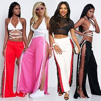Women High Waist Wide Leg Pants Side Buttons Split Striped Trousers Woman Wonder Palazzo Loose Casual Vintage Summer Pants Mujer