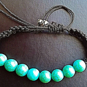 Mother's Day Gift, Turquoise, Shambala, Crackled Bead, Macrame, Adjustable Bracelet, Adjustable Anklet, Waxed Cotton Cord, Natural Cord