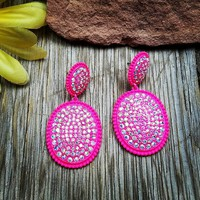 Hot Pink Rhinestone Post Dangle Earrings