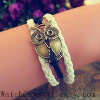 Big Owl Simple Bracelet ,boyfriend gift bracelet ,birthday bracelet,christmas day bracelet WB124