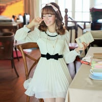 Japanese sweet princess bow chiffon dress