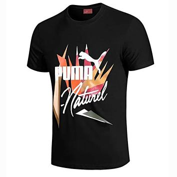 PUMA New Summer Men Casual Print Sport Round Collar T-Shirt Top Black