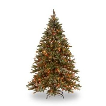 Martha Stewart Living, 9 ft. Pre-lit Snowy Pine Artificial Christmas Tree with Pine Cones and Multi-Color Lights, SR1-310E-90X at The Home Depot - Mobile