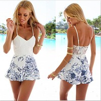 Women Sexy Lace Crochet Rompers Fashion White Floral Print Adjustable Strap Zipper Back Short