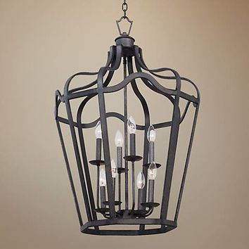 "Livingston Charcoal 21 3/4"" Wide 8-Light Lantern Pendant - #7V994 