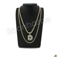 "D INITIAL BUBBLE PENDANT W/ 24"" MIAMI CUBAN /18"" TENNIS CHAIN NECKLACE"