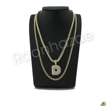 "ICED OUT D INITIAL BUBBLE PENDANT W/ 24"" MIAMI CUBAN /18"" TENNIS CHAIN NECKLACE"