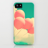 Happy Pink Balloons on retro blue sky  iPhone Case by Andrea Caroline