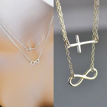 Infinity Cross Necklace, Double Strand Necklace, Sterling Silver Sideways Cross Necklace, Faith Forever Necklace