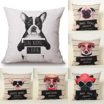 Cushion Cover Funny Bad Dog Pillow Animal Decorative Throw Pillow Cover Living Room Home Cotton Linen Cushion Cartoon Dog
