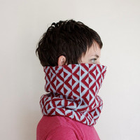 Geometric Cowl - Knitted Scarf - Knit Cowl - Ice Blue & Maroon