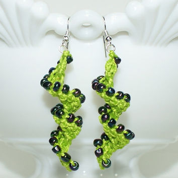 Crocheted Lime Green Beaded Helix Spiral Earrings