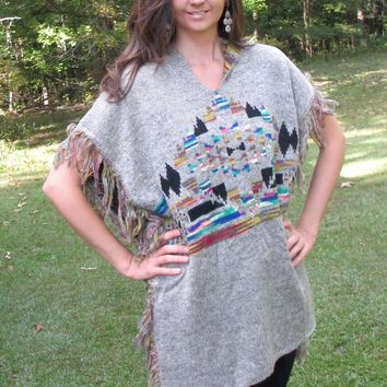 Selfie Couture by Trendology Aztec Grey Poncho Sweater with Fringe