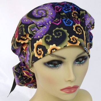 Bouffant Women's Surgical Scrub Hat or Cap Deco Rose in Rhapsody