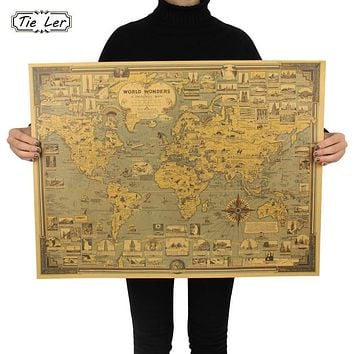 TIE LER Vintage World Map Great Building Kraft Paper Poster Wall Sticker Art Craft Map Bar Cafe Decor 68.5X51.5cm