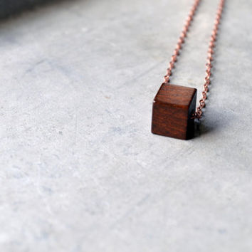 Simple Cherry Wood Block, Wood Cube, Wood Jewelry. Minimalistic Necklace, Geometric Necklace