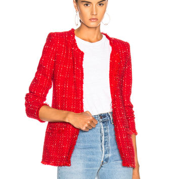 IRO Quespo Jacket in Red & Ecru | FWRD