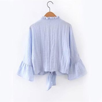 Ruffle Tunic Blouses Women Blue Bell Sleeve Shirt Frill Trim Cute Knot Front Tops New Vintage Casual Button Up Blouse