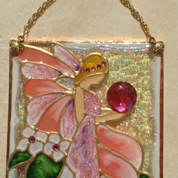 Artisan Made Pink Fairy Artwork Stained Glass Panel Suncatcher Sun Catcher Fairy Theme Wall Hanging Bathroom Art Wall Decor Ornament