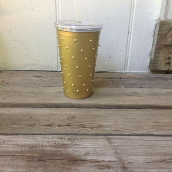 16oz Matte Gold Studded Cold Beverage Tumbler