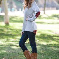 Plaid Elbow Patch Top Heather Grey-Pre-Order