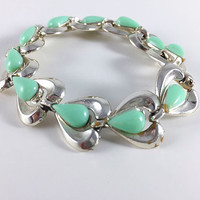 Vintage Turquoise Teal Gold Toned Heart Bracelet Retro Costume Jewelry Mid Century Fashion