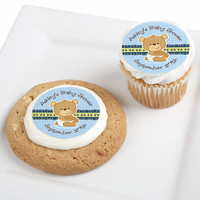 Baby Boy Teddy Bear - Personalized Baby Shower Edible Cupcake Toppers - 12 ct