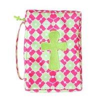 Mainstreet Colorful Green, Pink, and White Bible Cover Case with Embroidered Cross and Cross Zipper Pull Detail
