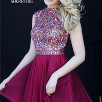 Sherri Hill 1979 Shimmery Jeweled High Neck Dress