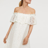Off-the-shoulder Lace Dress - White - Ladies | H&M US