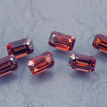 Garnet: 2.21twt Red Emerald Shape Gemstone Parcel, 6 Natural Hand Made Faceted Gems, Loose Precious Mineral, Crystal Jewelry Supply 11023