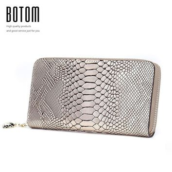 Botom 2017 Fashion Women Wallets Genuine Leather Wallet Female Card Holder Stone Wallet Long Purse Snakeskin Pattern Clutch Coin