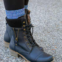 Great Heights Black Lace Up Combat Boot With Sweater Detail