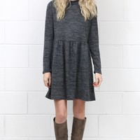 Long Sleeve Mock Neck Sweater Dress {Charcoal}