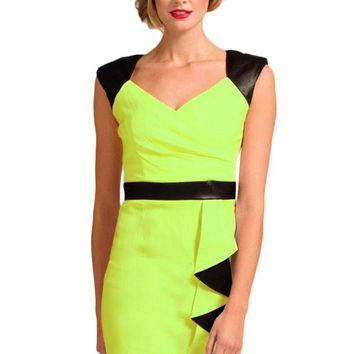 Chicloth Green Black V Neck-line Bodycon Dress With Waterfall Details