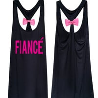 Bride and Bachelorette Fiance Bridal Tank Top with cute bow -A 4011
