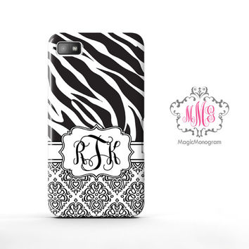 Zebra Loopy Damask Blackberry Case Z10, BB Q10 Case
