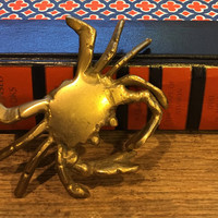 Vintage Brass Crab Figure , Ocean Decor, Beach Decor, Condo Decor, Brass Collectable , Ocean life