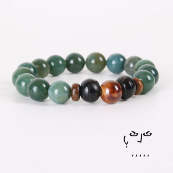 VujuWear Green Aventurine Men's Beaded Stretch Bracelet