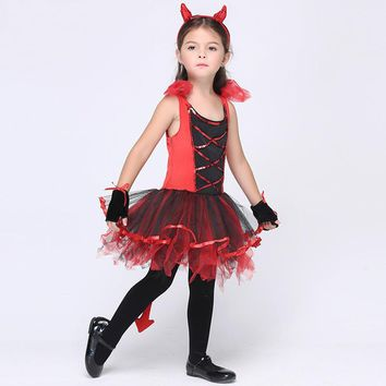 Red Dress with Tiara Tail Cat Girls Toddler Costume Halloween Cat girl dress Cosplay Baby Children Clothing Kids Clothes