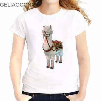Alpaca Printed Slim Fit Funny Women O Neck T-shirt
